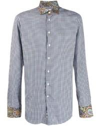 Chemise à manches longues en vichy blanc et bleu marine Etro