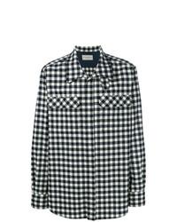 Chemise à manches longues en vichy blanc et bleu marine Holland & Holland