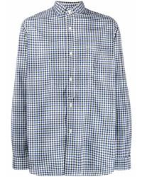 Chemise à manches longues en vichy blanc et bleu marine Junya Watanabe MAN