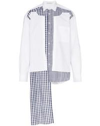 Chemise à manches longues en vichy blanc et bleu marine JW Anderson
