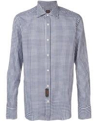 Chemise à manches longues en vichy blanc et bleu marine Mp Massimo Piombo