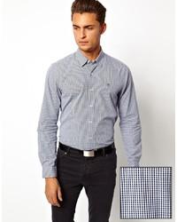 Chemise à manches longues en vichy blanc et bleu marine Peter Werth