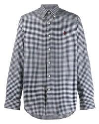 Chemise à manches longues en vichy blanc et bleu marine Polo Ralph Lauren