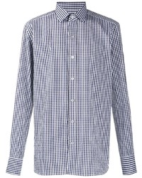 Chemise à manches longues en vichy blanc et bleu marine Tom Ford