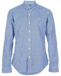 Chemise à manches longues en vichy blanc et bleu