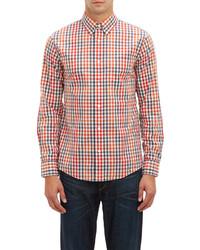Chemise à manches longues en vichy blanc et rouge et bleu marine