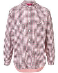 Chemise à manches longues en vichy blanc et rouge et bleu marine Junya Watanabe MAN