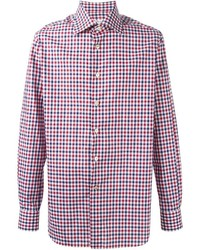 Chemise à manches longues en vichy blanc et rouge et bleu marine Kiton