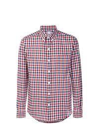 Chemise à manches longues en vichy blanc et rouge et bleu marine Moncler