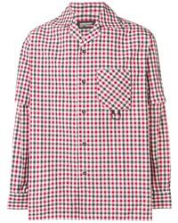 Chemise à manches longues en vichy blanc et rouge et bleu marine Represent