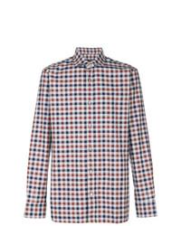 Chemise à manches longues en vichy blanc et rouge et bleu marine Z Zegna