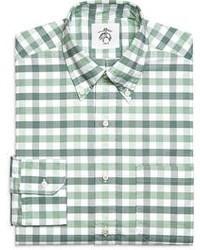 Chemise à manches longues en vichy blanc et vert