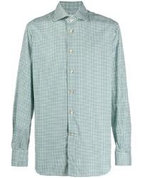 Chemise à manches longues en vichy blanc et vert Kiton