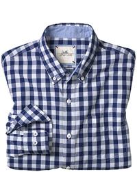 Chemise à manches longues en vichy blanche et bleue marine