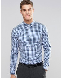 Chemise à manches longues en vichy blanche et bleue Asos