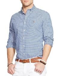 Chemise à manches longues en vichy blanche et bleue Polo Ralph Lauren