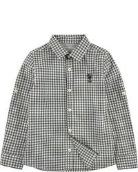 Chemise à manches longues en vichy blanche et noire