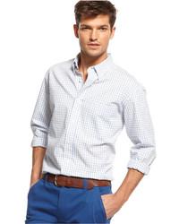 Chemise à manches longues en vichy blanche