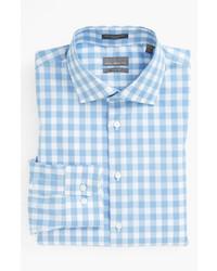 Chemise à manches longues en vichy bleu clair