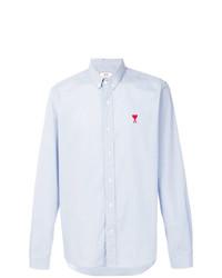 Chemise à manches longues en vichy bleu clair AMI Alexandre Mattiussi