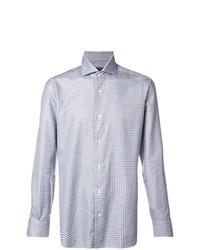 Chemise à manches longues en vichy bleu clair Barba