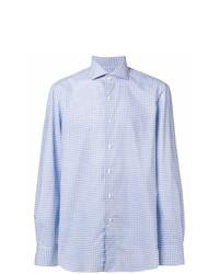 Chemise à manches longues en vichy bleu clair Boglioli