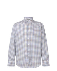 Chemise à manches longues en vichy bleu clair Canali