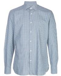 Chemise à manches longues en vichy bleu clair Ermenegildo Zegna