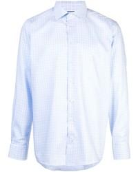 Chemise à manches longues en vichy bleu clair Eton
