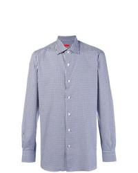 Chemise à manches longues en vichy bleu clair Isaia