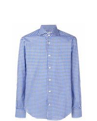 Chemise à manches longues en vichy bleu clair Kiton