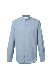 Chemise à manches longues en vichy bleu clair Officine Generale