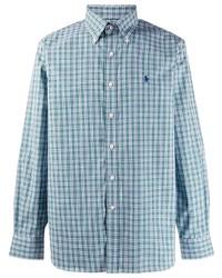 Chemise à manches longues en vichy bleu clair Ralph Lauren