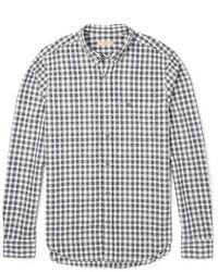 Chemise à manches longues en vichy bleu marine et blanc Burberry