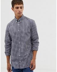 Chemise à manches longues en vichy bleu marine et blanc Tommy Hilfiger