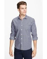 Chemise à manches longues en vichy bleu marine