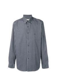 Chemise à manches longues en vichy bleu marine Etro