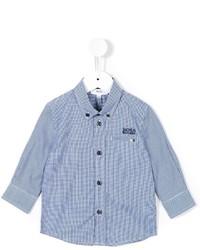 Chemise à manches longues en vichy bleue