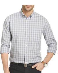 Chemise à manches longues en vichy grise