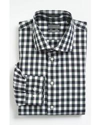 Chemise à manches longues en vichy noire et blanche