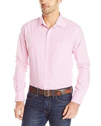 Chemise à manches longues en vichy rose