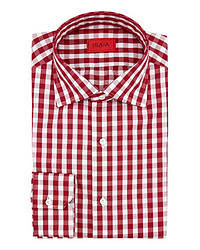 Chemise à manches longues en vichy rouge et blanc