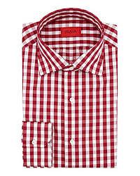 Chemise à manches longues en vichy rouge et blanche