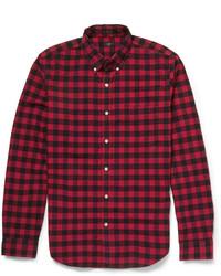 Chemise à manches longues en vichy rouge et noir