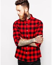Chemise à manches longues en vichy rouge et noir Asos