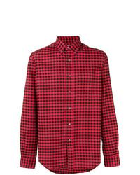 Chemise à manches longues en vichy rouge et noir Aspesi