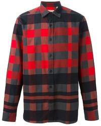 Chemise à manches longues en vichy rouge et noir Burberry