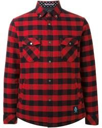 Chemise à manches longues en vichy rouge et noir GUILD PRIME