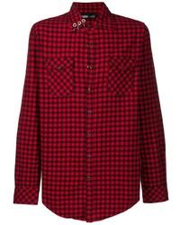 Chemise à manches longues en vichy rouge et noir Vision Of Super