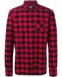 Chemise à manches longues en vichy rouge et noir Woolrich